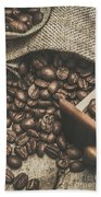 Roasted Coffee Beans In Close-up  Beach Towel
