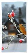 Robin And Rose Hips Beach Towel
