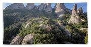 Rock Formations Montserrat Spain Beach Towel
