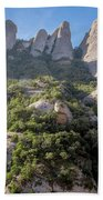 Rock Formations Montserrat Spain Beach Towel