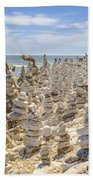 Rock Structures On Lake Michigan Beach Towel