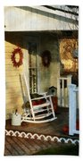 Rocking Chair On Side Porch Beach Towel