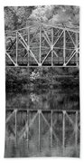 Rocks Village Bridge In Black And White Beach Towel