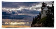 Rocky Cliffs Below Maine Lighthouse Beach Towel