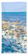 Rocky Lake Superior Shoreline Near North Country Trail In Pictured Rocks National Lakeshore-michigan Beach Towel