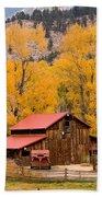 Rocky Mountain Autumn Ranch Landscape Beach Towel