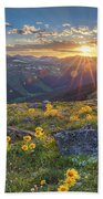 Rocky Mountain National Park Summer Sunflowers Pano 1 Beach Towel
