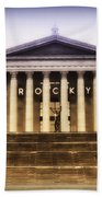Rocky On The Art Museum Steps Beach Towel