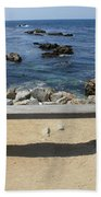 Rocky Seaside Bench Beach Towel