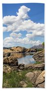 Rocky Shore And Pristine Water Beach Towel