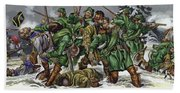 Rogers Rangers Fought A Hand-to-hand Battle In The Snow With The French And Indians Beach Towel