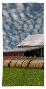 Rolled Up - Hay Rolls And Barn Beach Towel