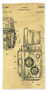 Rolleiflex Medium Format Twin Lens Reflex Tlr Patent Beach Towel