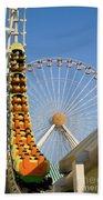 Roller Coaster And Ferris Wheel Beach Towel