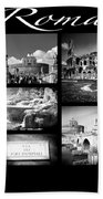 Roma Black And White Poster Beach Towel