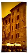 Roman Cafe With Golden Sepia 2 Beach Towel
