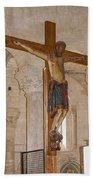 Romanesque Abbey Crucifix Beach Towel
