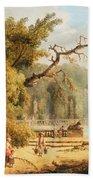Romantic Garden Scene Beach Towel by Hubert Robert