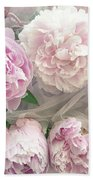 Romantic Shabby Chic Pastel Pink Peonies Bouquet - Romantic Pink Peony Flower Prints Beach Sheet