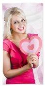 Romantic Woman With Heart Shape Valentine Card Beach Towel
