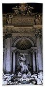 Rome, Trevi Fountain At Night Beach Towel