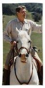 Ronald Reagan On Horseback  Beach Sheet