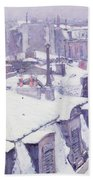 Roofs Under Snow Beach Towel by Gustave Caillebotte