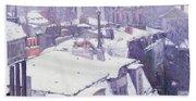 Roofs Under Snow Beach Towel