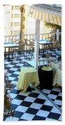Rooftop Cafe Beach Towel by Karen Zuk Rosenblatt