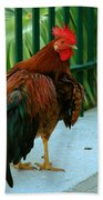 Rooster By The Fence Beach Towel