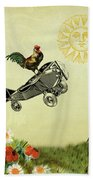 Rooster Flying High Beach Towel