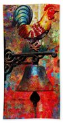 Rooster On The Door Whimsy Beach Towel