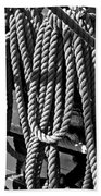 Ropes For The Rigging Bw 1 Beach Towel