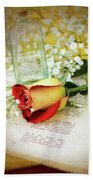 Rose And Bottle Beach Towel