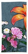 Rose Baby Breath And Lilly Beach Towel