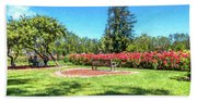Rose Garden Benches Impressionist Digital Painting Beach Sheet