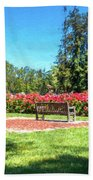 Rose Garden Benches Impressionist Digital Painting Beach Towel