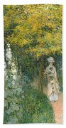 Rose Garden Beach Towel by Claude Monet