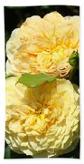 Rose Garden Floral Art Print Yellow Roses Canvas Baslee Troutman Beach Towel