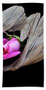 Rose In Driftwood 2 Beach Sheet