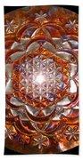 Rose Of Life Copper Lightmandala Beach Towel