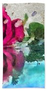 Rose Reflected Fragmented In Thick Paint Beach Towel