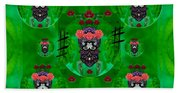 Rose Sugar Skull In Fern Garden Beach Towel