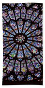 Rose Window At Notre Dame Cathedral Paris Beach Towel