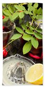Rosehip Tea With Lemon In Glass Beach Towel