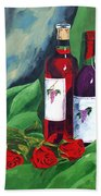 Roses And Wine Beach Towel