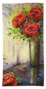 Roses And Woman Beach Towel