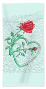 Roses Hearts And Lace Flowers Design  Beach Towel