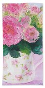 Roses In A Pink Floral Jug Beach Sheet