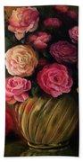 Roses In Brass Bowl Beach Towel